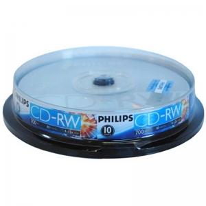 飞利浦(PHILIPS)CD-RW 4-12X 700MB 可擦写 空白刻录光盘/光碟 可重复刻录 桶装10片装