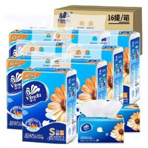 维达(Vinda)V2219 超韧面巾纸/软包装抽纸 三层150抽*3包*16提/箱