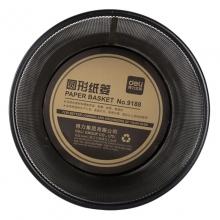 得力(deli)9188 金属网状垃圾桶/圆形纸篓 小号(直径23.4cm)黑色