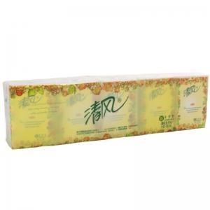 清风(APP)花韵香味手帕纸小包便携式原生浆印花纸巾 3层 10片*/包 10包/条