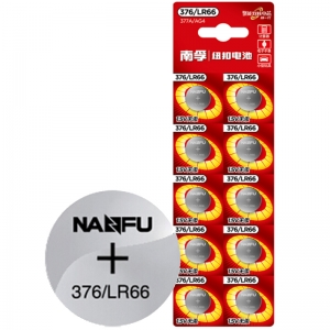 南孚(NANFU)376/LR66 纽扣电池1.5V无汞碱性电池 377A/AG4 挂卡10粒装