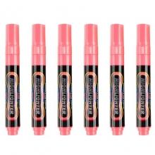 宝克(BAOKE)MP4901 可擦荧光笔/LDE电子屏荧光板笔/标记笔/广告彩绘笔(圆头)6支/盒 粉色